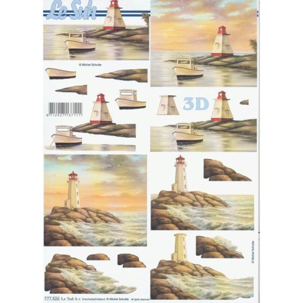 Feuille 3D à découper A4 Bord de mer Phare - Photo n°1