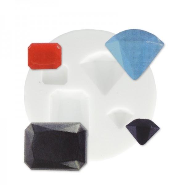 Mini moule silicone pour pâte polymère, fimo PIERRES PRECIEUSES DTM 284441 - Photo n°1