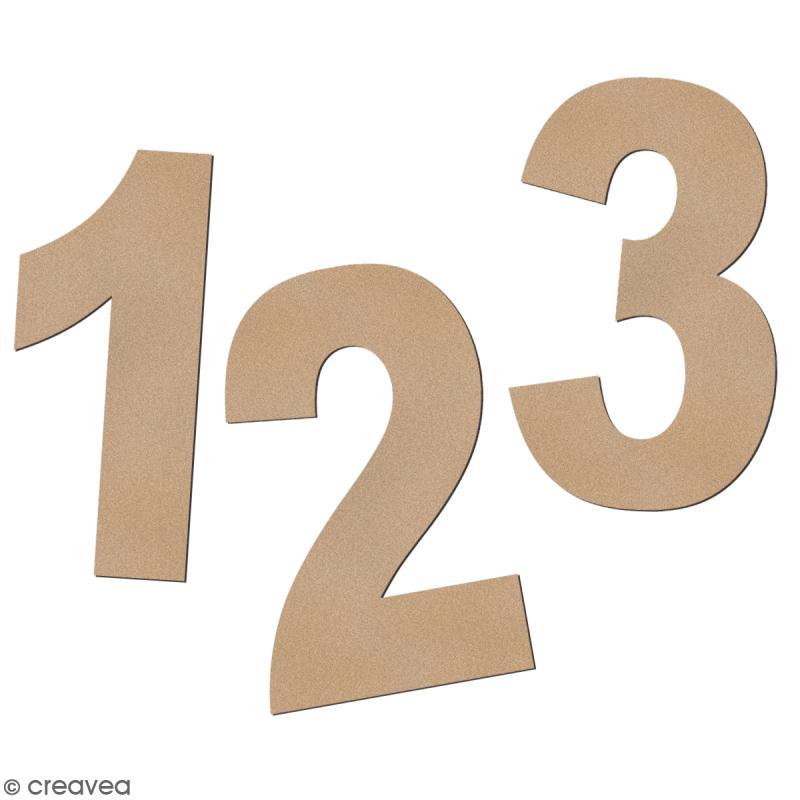 Chiffre en bois à décorer 3,2 cm - Police Sans Serif - Photo n°1