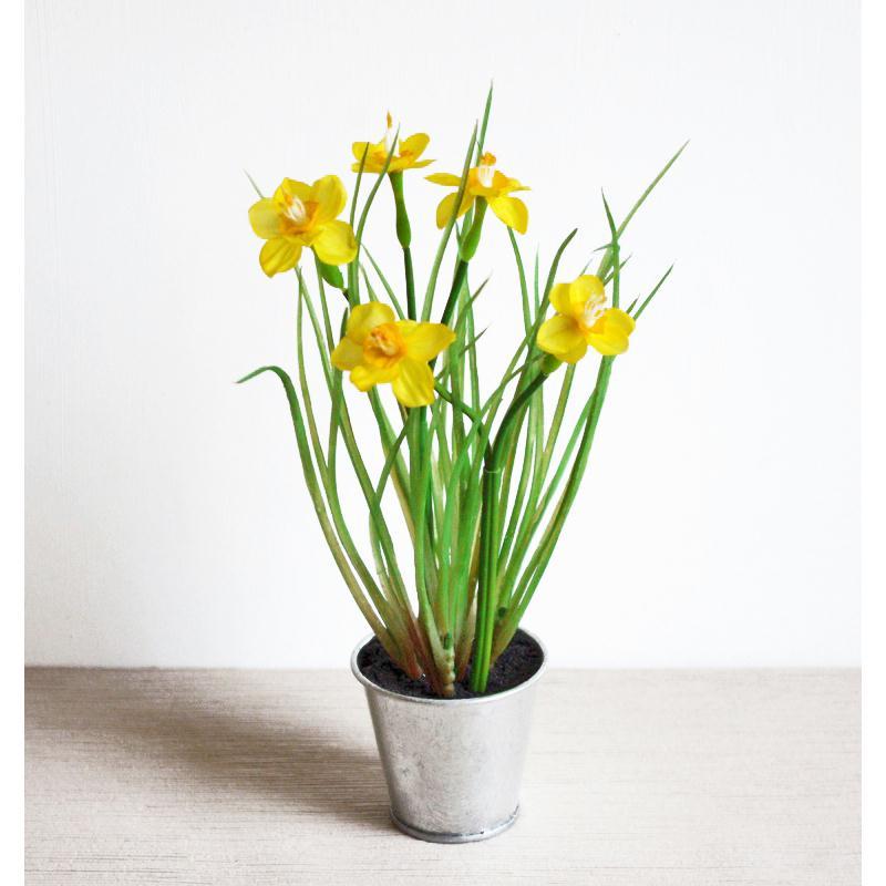 bouquet jonquilles artificielles h23cm mini fleurs jaunes en pot zinc fleurs artificielles. Black Bedroom Furniture Sets. Home Design Ideas