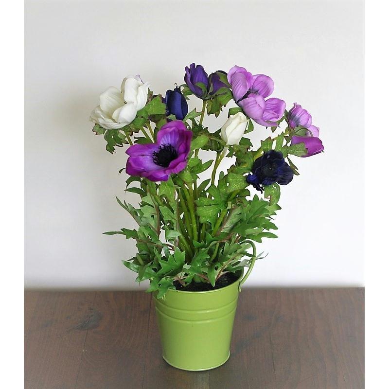 An mones artificielles violettes h30cm plante fleurie en for Plante grimpante artificielle exterieur