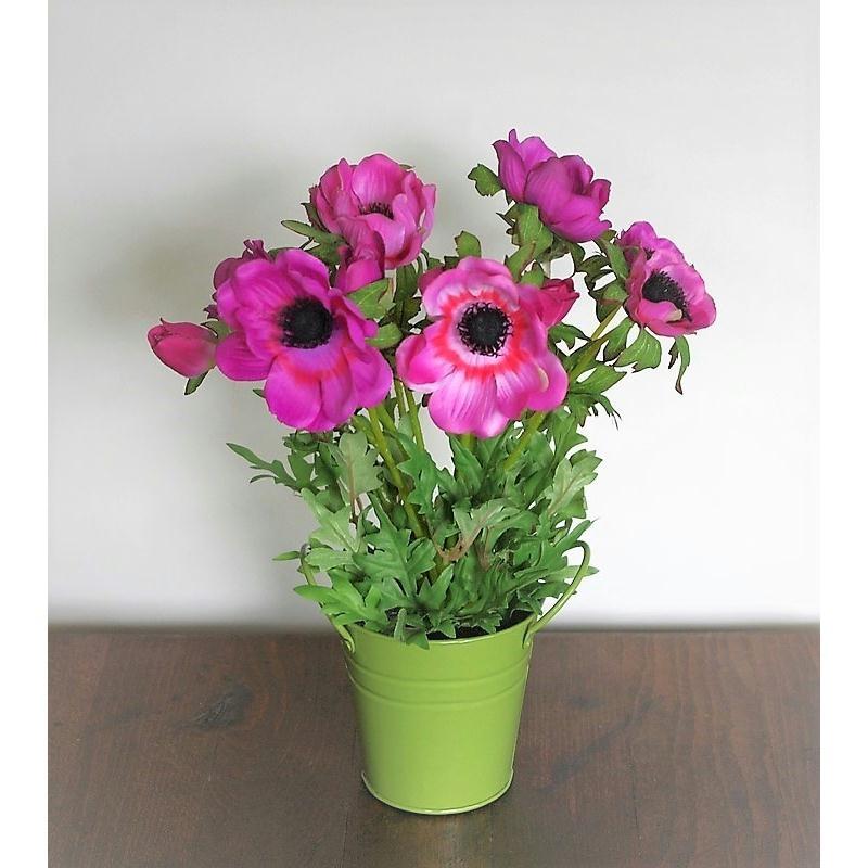 An mones artificielles roses h30cm plante fleurie en pot for Plante grimpante artificielle exterieur