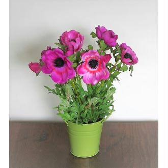 Anémones artificielles roses H30cm plante fleurie en pot zinc