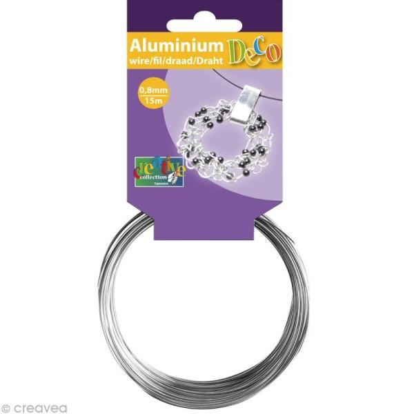 Fil aluminium 0,8 mm fin Argent x 15 mètres - Photo n°1