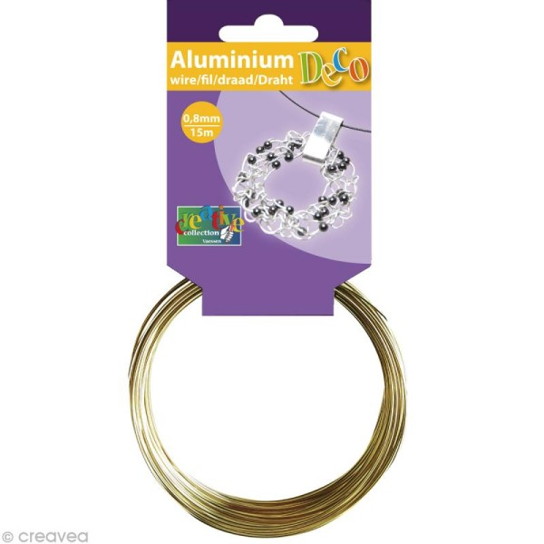 Fil aluminium 0,8 mm fin Or clair x 15 mètres - Photo n°1