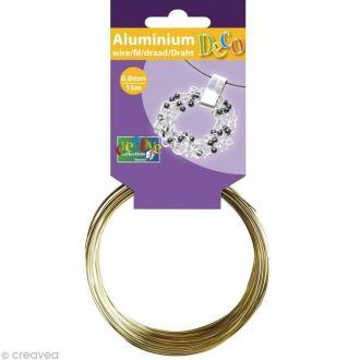 Fil aluminium 0,8 mm fin Or clair x 15 mètres