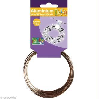 Fil aluminium 0,8 mm fin Marron x 15 mètres