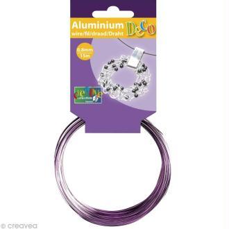 Fil aluminium 0,8 mm fin Lavande x 15 mètres