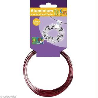 Fil aluminium 0,8 mm fin Rouge x 15 mètres