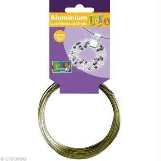Fil aluminium 0,8 mm fin Vert pomme x 15 mètres