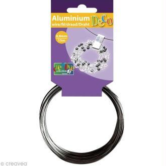 Fil aluminium 0,8 mm fin Anthracite x 15 mètres