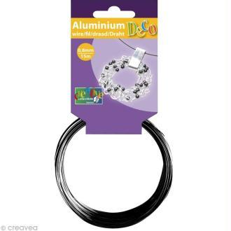 Fil aluminium 0,8 mm fin Noir x 15 mètres