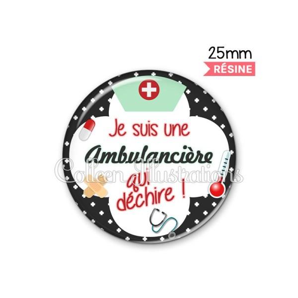 Cabochon en résine epoxy Ambulancière qui déchire - Photo n°1