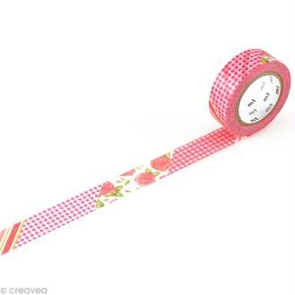 Masking Tape - Flower red R 15 mm x 10 m