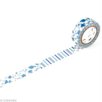 Masking Tape - Flower dark blue R 15 mm x 10 m