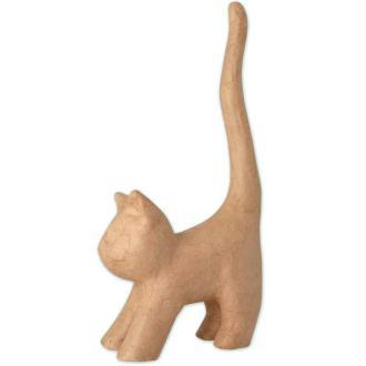 Chat naif avec longue queue en papier maché 30 cm