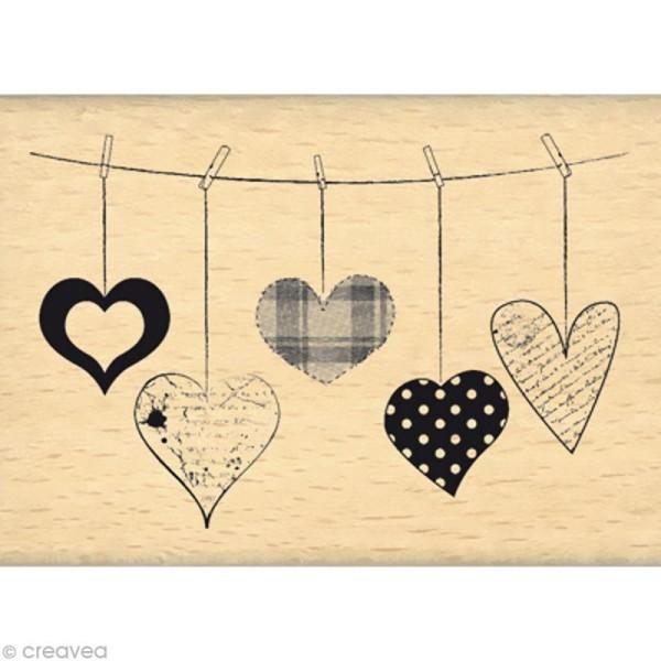 Tampon Amour - Coeurs suspendus - 7 x 5 cm - Photo n°1