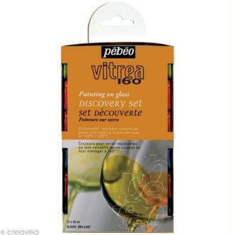 Kit découverte Pébéo - Peinture verre V160 brillant 12 x 20 ml