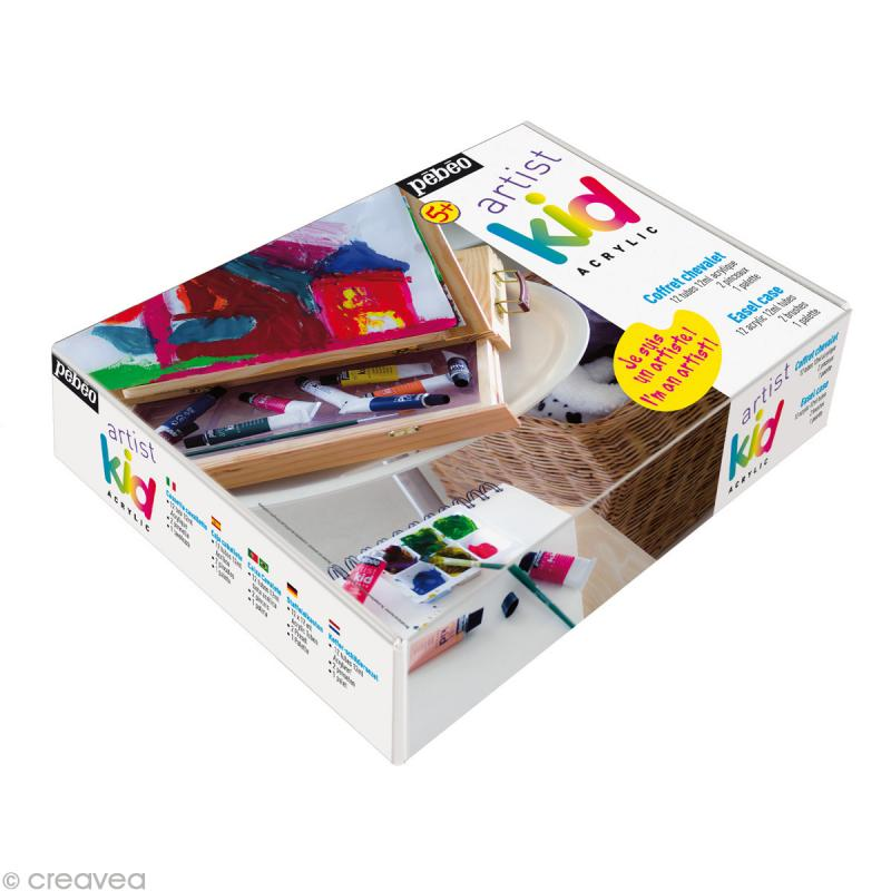 artist kid coffret peinture acrylique chevalet kit peinture creavea. Black Bedroom Furniture Sets. Home Design Ideas