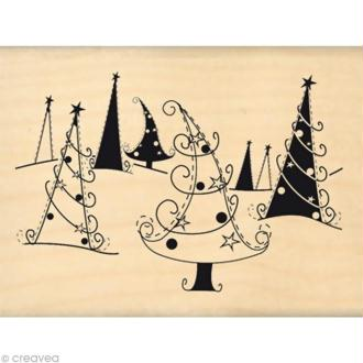 Tampon Noël - Joyeux sapins - 8 x 6 cm