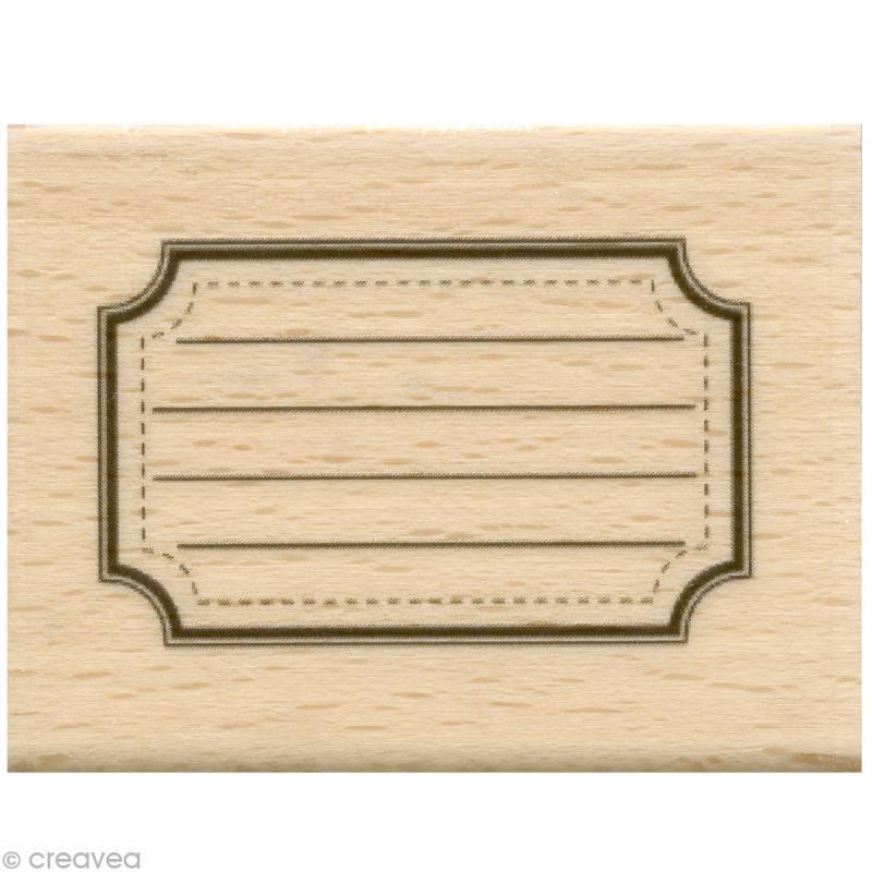 tampon tiquette etiquette cole 5 x 4 cm tampon bois creavea. Black Bedroom Furniture Sets. Home Design Ideas