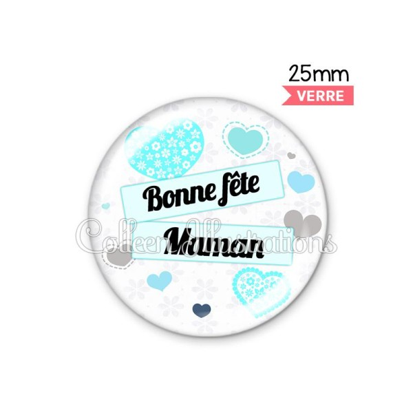 Cabochon en verre Bonne fête maman - Photo n°1