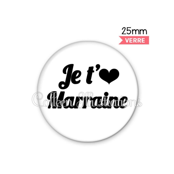 Cabochon en verre Je t'aime marraine - Photo n°1
