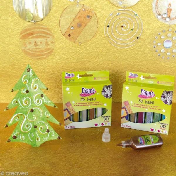 Kit peinture 3D Diam's - Total Paillettes 20 ml x 6 - Photo n°2
