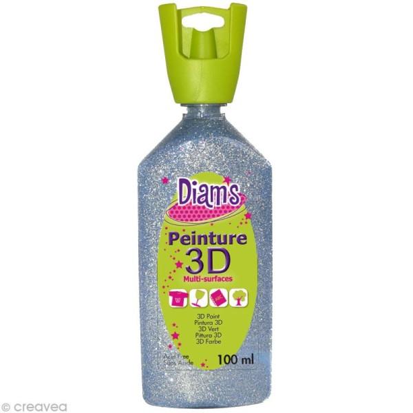 Peinture 3D Diam's 100 ml - Pailleté argent - Photo n°1