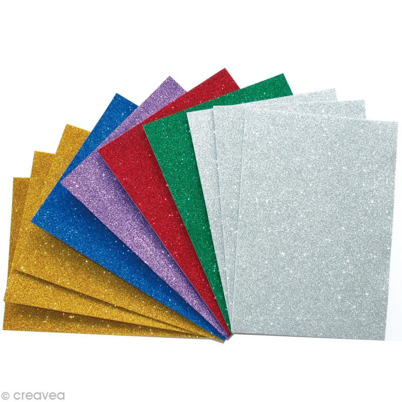 Papier mousse paillet 10 feuilles autocollantes feuille mousse creavea - Decoration de feuille de papier ...