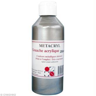 Gouache métallique Metacryl - Argent - 250 ml