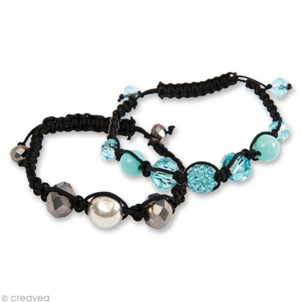 Kit Shamballa bracelet Argent - 3 bracelets - Photo n°2