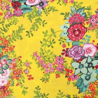 Coupon Tissu Rico Design n°38 - Fleurs Vert - 50 x 55 cm