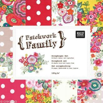 Set Scrapbooking - Patchwork Family - Fleurs et Gros Pois - 12 motifs 30,5 x 30,5 cm