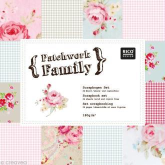 Set Scrapbooking - Patchwork Family - Fleurs et Vichy - 12 motifs 30,5 x 30,5 cm