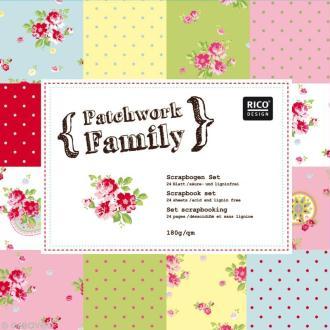 Set Scrapbooking - Patchwork Family - Fleurs et Petits pois - 12 motifs 30,5 x 30,5 cm