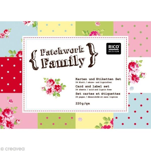 Set Scrapbooking - Cartes Patchwork Family - Fleurs et Petits pois - 5 motifs 20,7 x 14,7 cm - Photo n°1