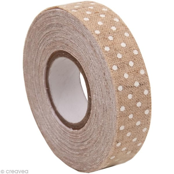 Fabric Tape - Patchwork Family - Beige à pois blancs - 15 mm x 5 m - Photo n°1