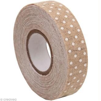 Fabric Tape - Patchwork Family - Beige à pois blancs - 15 mm x 5 m