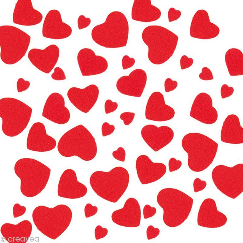 Autocollant feutrine coeur rouge x 20 gr formes en - Dessin de petit coeur ...