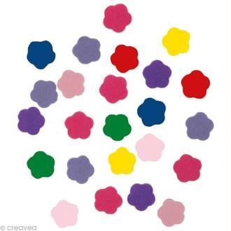Autocollant feutrine - Fleur multicolore x 20 gr