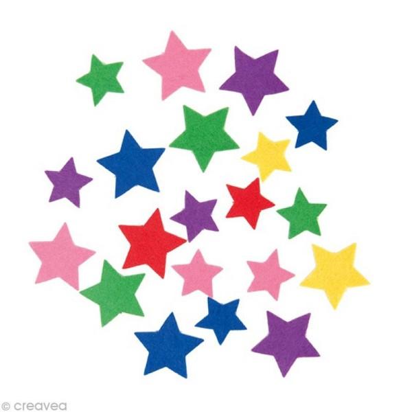 Autocollant feutrine - Etoile multicolore x 20 gr - Photo n°1