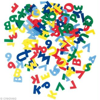 Autocollant feutrine - Alphabet multicolore x 20 gr