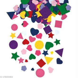 Autocollant feutrine - Forme multicolore x 20 gr