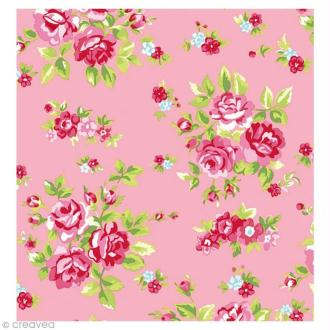 Coupon Tissu Rico Design n°11 - Fleurs Vert et Rose - 50 x 55 cm