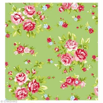 Coupon Tissu Rico Design n°13 - Fleurs Vert et Rose - 50 x 55 cm