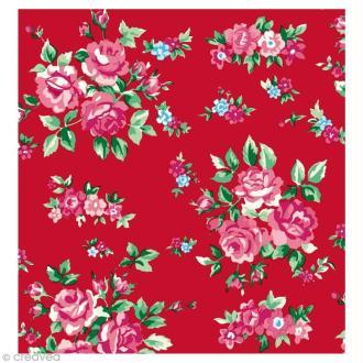 Coupon Tissu Rico Design n°35 - Fleurs Rouge et Rose - 50 x 55 cm