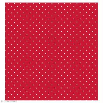 Coupon Tissu Rico Design n°36 - Points Rouge et Blanc - 50 x 55 cm
