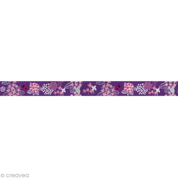 Fun tape Fleurs Lilas 15 mm x 10 m - Photo n°2