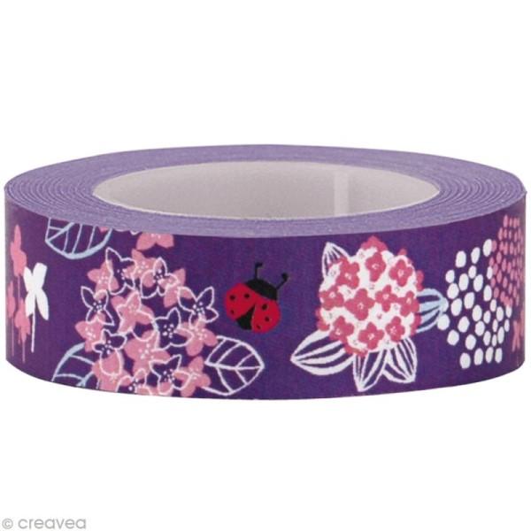 Fun tape Fleurs Lilas 15 mm x 10 m - Photo n°1